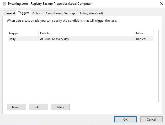 Registry Backup runs once a day